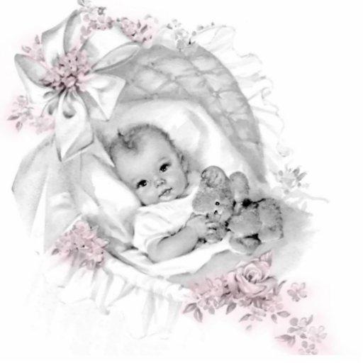 Vintage rosa Baby-Mädchen-Dusche Acryl Ausschnitt