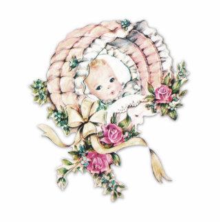 Vintage rosa Baby-Mädchen-Dusche Freistehende Fotoskulptur