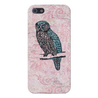 Vintage rosa blaue niedliche Eule iPhone 5 Etui