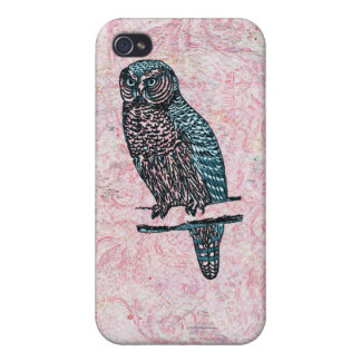 Vintage rosa blaue niedliche Eule iPhone 4/4S Hüllen
