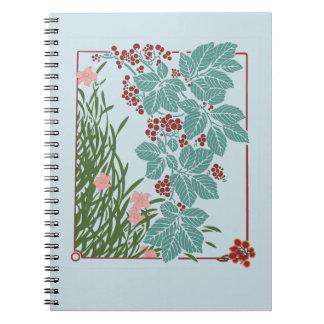 Vintage rosa Blumen-rotes Beeren-Blau-Blätter Notizblock