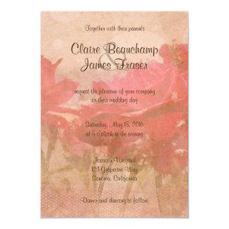 Vintage rosa Blumenhochzeit Karte