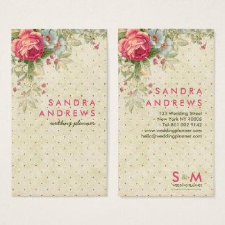 Vintage rosa Blumenpolkapunkte, die Monogramm Visitenkarte