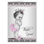 Vintage rosa Dusche Prinzessin-Baby danken Ihnen Mitteilungskarte