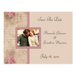 Vintage rosa Fliedern Save the Date Postkarte