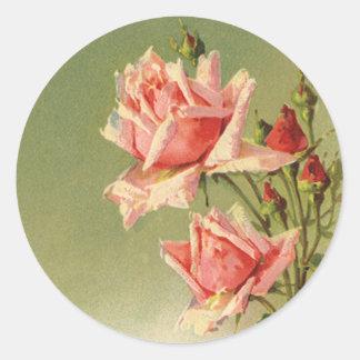 Vintage rosa Garten-Rosen für den Tag des Valentin Runder Aufkleber