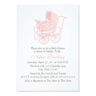 Vintage rosa Kinderwagen-Baby-Dusche Karte