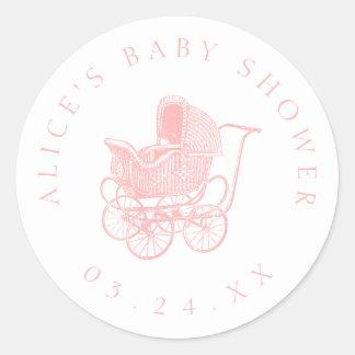 Vintage rosa Kinderwagen-Baby-Dusche Runder Aufkleber