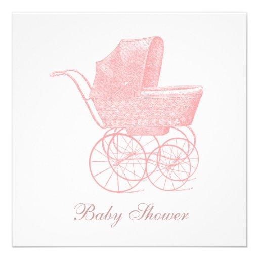Vintage rosa Kinderwagen-Baby-Mädchen-Dusche Personalisierte Ankündigungen
