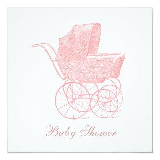 Vintage rosa Kinderwagen-Baby-Mädchen-Dusche Quadratische 13,3 Cm Einladungskarte