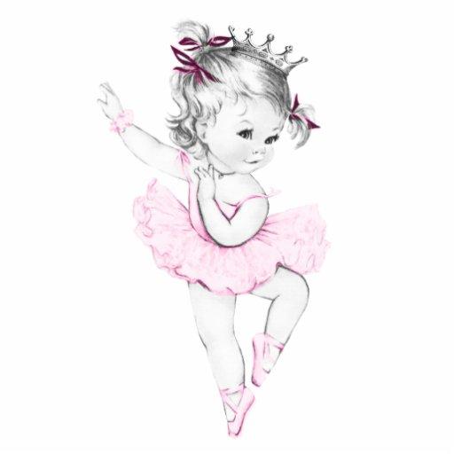 Vintage rosa Mädchen-Dusche Ballerina-Prinzessin-B Foto Skulptur