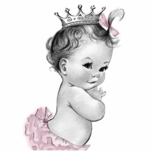 Vintage rosa Mädchen-Dusche Prinzessin-Baby Fotoskulptur