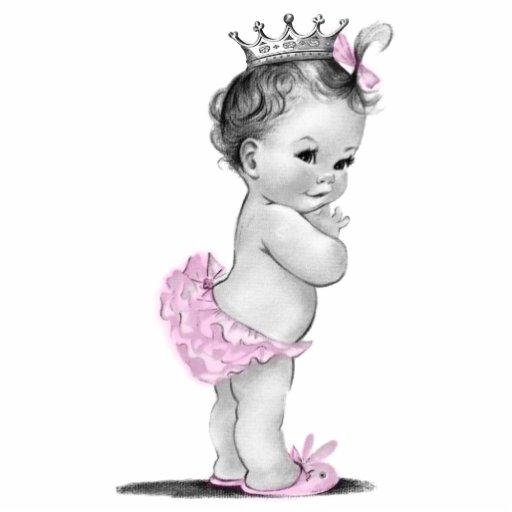 Vintage rosa Mädchen-Dusche Prinzessin-Baby Fotostatuen