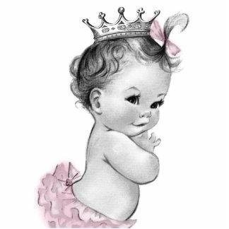 Vintage rosa Mädchen-Dusche Prinzessin-Baby Freistehende Fotoskulptur