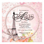 Vintage rosa Paris-Baby-Duschen-Einladungen