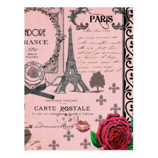 Vintage rosa Paris-Collage Postkarten