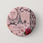 Vintage rosa Paris-Collage Runder Button 5,7 Cm