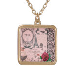 Vintage rosa Paris-Collagenhalskette
