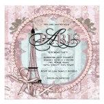 Vintage rosa Paris-Geburtstags-Party Einladungen