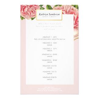 Vintage rosa Pfingstrose DER 14 X 21,6 Cm Flyer