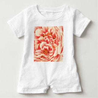 Vintage rosa Pfingstrosen Baby Strampler