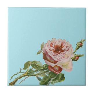 Vintage rosa Rose auf blassem Aqua Keramikfliese