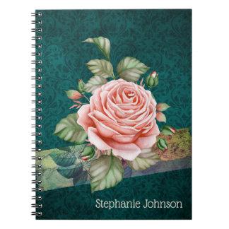 Vintage rosa Rose auf dem aquamarinen Damast Notizblock