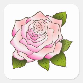 Vintage rosa Rose, die quadratischen Aufkleber