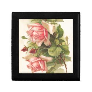 Vintage rosa Rose Schmuckschachtel
