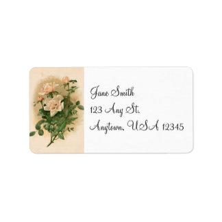 Vintage rosa Rosen-Adressen-Etiketten Adress Aufkleber
