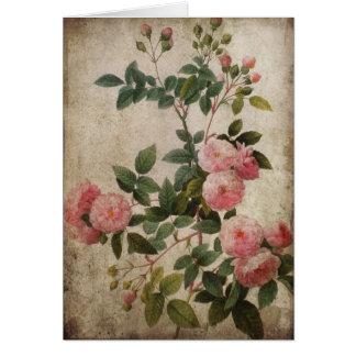 Vintage rosa Rosen-Anmerkungs-Karte Karte
