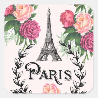 Vintage rosa Rosen-Aufkleber Paris