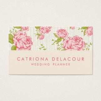 Vintage rosa Rosen-Blumenmuster-Geschäfts-Karte Visitenkarten