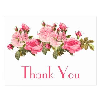 Vintage rosa Rosen danken Ihnen Blumenpostkarte