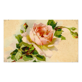 Vintage rosa Rosen-Geschäfts-Visitenkarte Visitenkarten