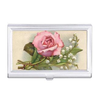 Vintage, rosa Rosen, Gewohnheit Visitenkarten Etui