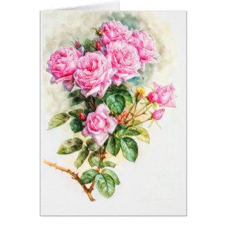 Vintage rosa Rosen-Malerei wieder hergestellter Karte
