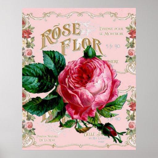 Vintage rosa Rosen-Mode Paris, hübsche Blumenkunst Poster