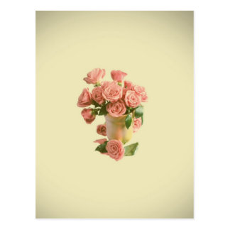 Vintage rosa Rosen. Retro Blumen Postkarte