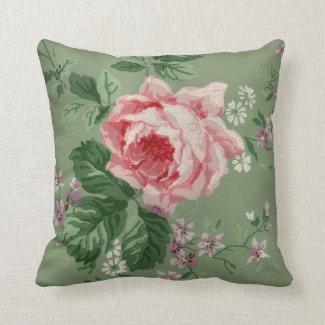 Vintage rosa Rosen-Tapete Zierkissen