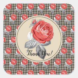 Vintage rosa Rosen und Hahnentrittmuster danken Quadratischer Aufkleber