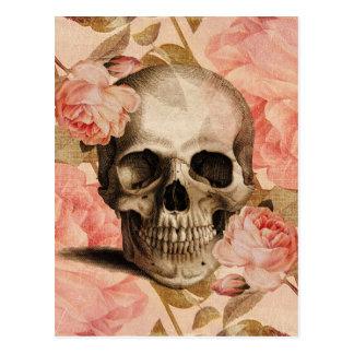 Vintage Rosa-Schädel-Collage Postkarte
