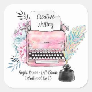 Vintage rosa Schreibmaschine u. Quadratischer Aufkleber