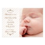 Vintage rosa Streifen-Baby-Mädchen-Geburts-Mitteil Ankündigungskarte