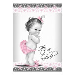 Vintage rosa und graue Baby-Mädchen-Dusche 12,7 X 17,8 Cm Einladungskarte