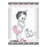 Vintage rosa und graue Baby-Mädchen-Dusche Personalisierte Einladungen