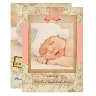 Vintage Rose - Geburts-Mitteilung Karte