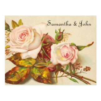 Vintage Rose Save the Date Postkarte
