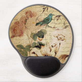 Vintage Rose scripts Vogelblumenmode Gel Mousepads