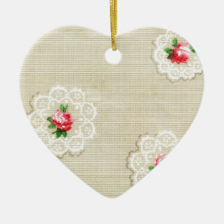 Vintage Rosedoily-Tapete Keramik Ornament